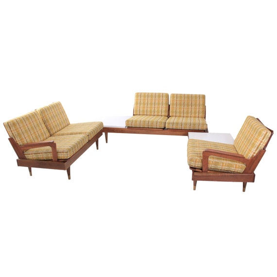 Vintage Mid Century Modern Modular 3 Piece Sectional By