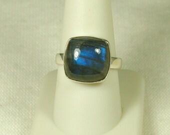 Labradorite Ring, Size 10, Deep Blue Flash, Sterling Silver, Natural Labradorite, Spectrolite, Blue Labradorite