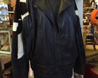 Vintage Men's Black Kid Leather Pony Neiman Marcus Fringe Motorcycle Jacket 80s
