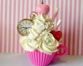 Victorian Teacup Fake Cupcake with Rosettes, Faux Pearls, Clock, Key, Cherry, and Straws, Photo Props and Home Accents