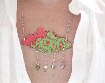 Statement Necklace Lime Green Hot Pink Rain Shower Fashion Raindrop Cloud with Crystals