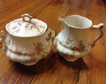 Sweet Little China Pink And White Floral Sugar And Creamer Shabby