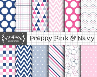 Preppy Digital Paper Pack, Pink and Navy Digital Scrapbook Paper, Triangle Pattern, Instant Download, Commercial Use, Pastel Pink and Blue