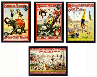 Vintage Style Coney Island Posters A+quality
