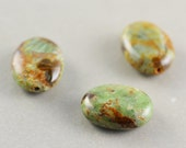 Stone Oval Beads, 20mm Smooth Focal Beads, Green Brown Stones, Three