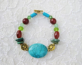 Colorful gemstone bracelet, Bohemian gypsy turquoise, gold, red agate green glass beaded bracelet