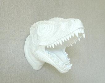 Mini White T-Rex Dinosaur Head Wall Mount - Dinosaur Faux Taxidermy MTX01