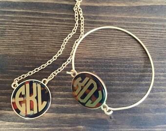 Monogrammed Tortoise Shell Bracelet
