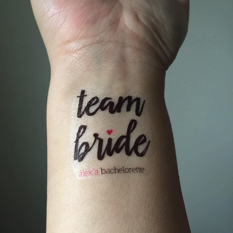 10 bachelorette party temporary tattoos team bride custom for Custom temp tattoos