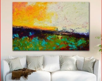 "Original OIL  Painting Large  Abstract Landscape Painting 48"" x 30""  Canvas by Claire McElveen"