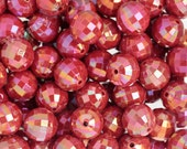 20mm - 10 PACK of Red AB Faceted 20mm Gumball Beads, Chunky Beads, 20mm Beads, Disco Ball Beads, Bubblegum Beads, 2mm Hole (R7-141)
