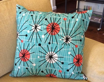 ATOMIC Print Square Throw  PILLOW Cover  EAMES Look Mid Century Look Turquoise Print Envelope closure