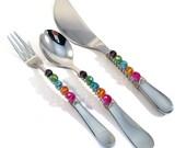 3 piece beaded appetizer set, beaded hors 'doeuvre set, pickle fork, demi spoon, spreader knife, hostess gift, housewarming, appetizer set