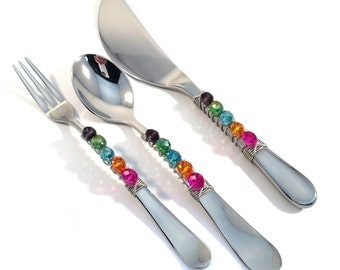 3 piece beaded appetizer set, beaded hors 'doeuvre set, pickle fork, demi spoon, spreader knife, hostess gift, housewarming, appetizer set