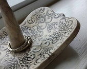 Rustic Handmade Pottery Wedding Ring Dish in Black and White Damask