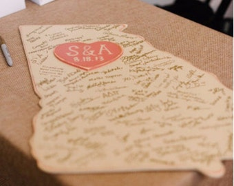 Custom Wooden State Wedding Guestbook - 2 ft Georgia **The Original** Distressed Ivory - any state/country available - Alternative Guestbook