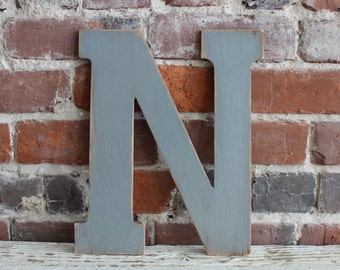 """12"""" Wooden Letter N, Classic Font in Distressed Gray- all letters available in many colors"""
