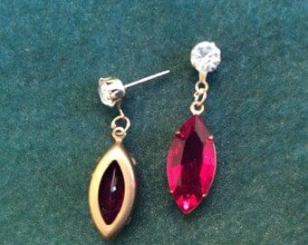 Vintage Pierced Dangle Earrings Ruby and Crystal Rhinestone Warm Brass Settings