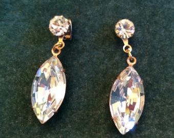 Vintage Pierced Dangle Earrings Crystal Rhinestone Warm Brass Settings