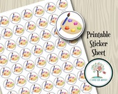 Printable Stickers, Paint Palette, Painter, Planner Stickers, Planner Accessories, Instant Download, Downloadable, Calendar, Printable