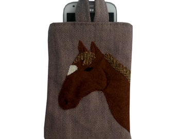 Horse Phone Cover / Glasses / Case / Chestnut / Pastel Pink