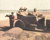 Antique Postcard. Sand Art. Beach Décor. Black Artist. Antique Automobile w/ Passengers. Colorized Photograph. 1910 Paper Ephemera.