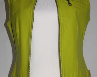 Women's Small Genuine Chartreuse Green Leather Vest