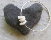 Puka Shell Bangle, Sterling Silver Hammered Bracelet, Hawaiian Shells, Handmade Maui jewelry, Thick 12 Gauge, Hawaii Beach Summer Fashion