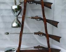 Vintage Gun Rack Drink Mixing Barware Tool Set