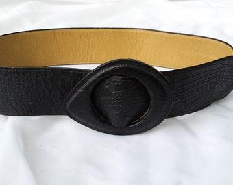Vintage Boho Black and Tan Adjustable Womens Leather Belt