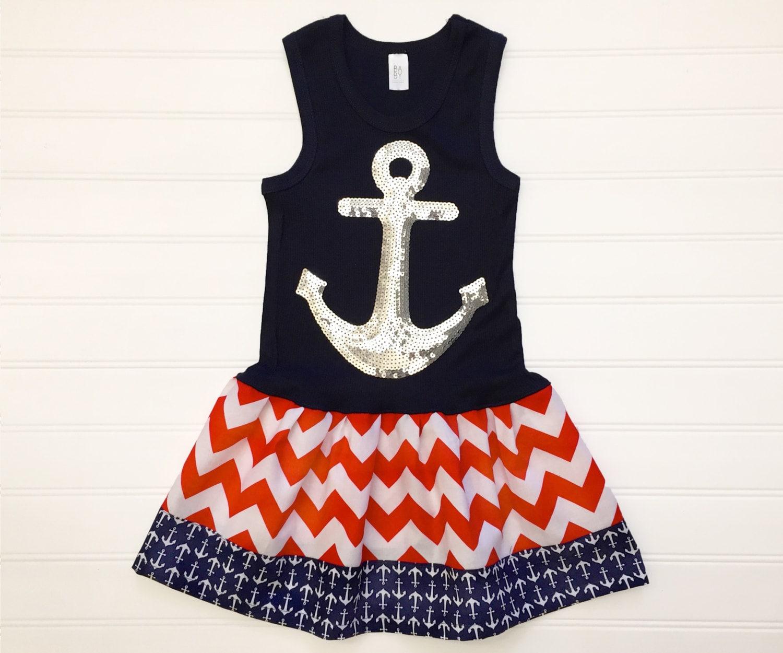 Girls Anchor Dress Americana Dresses Baby Toddlers Nautical