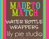 Custom Water Bottle Wrappers Made to Match any invitation design from LilyPieStudio