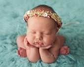 Newborn Flower Headband. Newborn Headband. Peach Garden Flower Halo. Newborn Flower Halo. New Born Photography Prop.UK SELLER