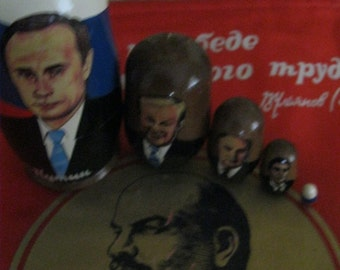 Vladimir PUTIN - New TSAR of Russia - with Yeltsin,  GORBACHEv & Khrushev- Great looking  set of 5 Russian NESTINg DOLLs crafted in Russia