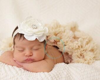 ivory baby headband- baby headband- newborn headband- cream headband- rhinestone headband- infant headband- newborn headband- posh peanut