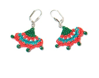 Earrings-Oriental Style Crochet Earrings,Ethnic Earrings,Red Teal Blue,Iznik Tile,Ottoman,Historical Jewelry,Ancient Inspired