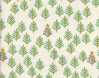 Tinsel FLANNEL Christmas Forest in White, Rashida Coleman-Hale, Cotton+Steel, RJR Fabrics, 100% Cotton Fabric, 5015-14