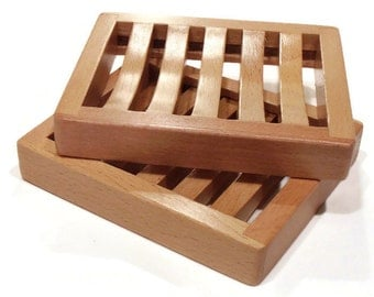 NEW - Beech Wood Soap Tray - Curved Rectangle Beech Wood Soap Tray - Wooden Soap Dish - SOAP SAMPLE Too!