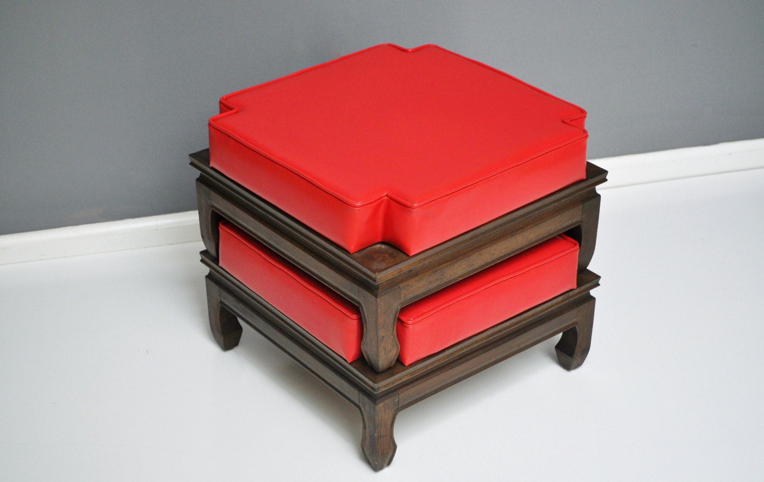 Pair Of Vintage Stacking Ottomans Or Footstools