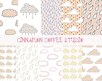 Pink Cloud Digital Paper Set, Cute Clouds Backgrounds, Rain and Clouds Patterns - set of 10