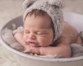 Light gray fluffy mohair teddy bear bonnet. Choose your size. Great photo photography prop.