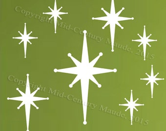 Star Burst Wall Decals Retro mid century modern vinyl fabric stickers removable atomic era 1950s 1960s