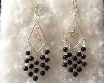 Black Onyx, Swarovski Crystals and Sterling Silver Earrings