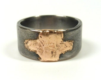 Weathered Steel and Rose Bronze Band Ring, Mixed Metal Ring, Templar Ring, Mixed Metal Ring