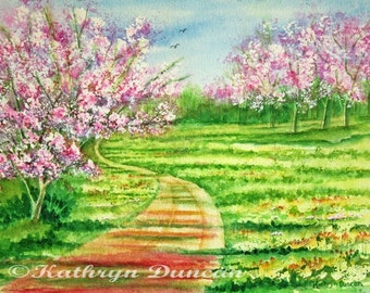 Cherry Blossom Trees Original Watercolor Painting, Landscape, matted to 16x20, Pink, Green, Rust, Yellow, Blue