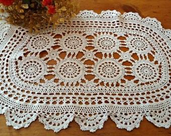 Vintage Large Doily Ecru Centerpiece Doilies Crocheted Doilys  B247