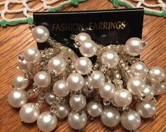 Vintage Pearl Clip On Earrings