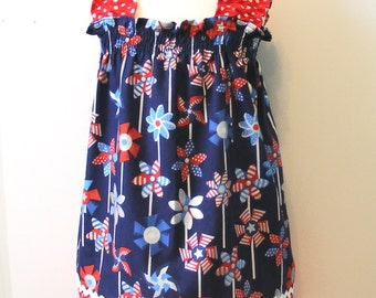 Pinwheel   Shirred Dress (12 mos,18 mos, 24 mos,  2T,  3T, 4T, 5, 6)