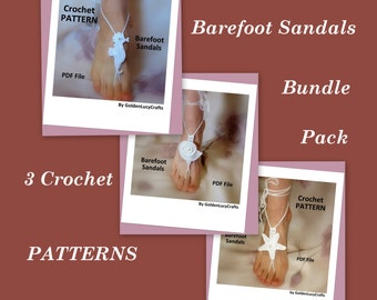 Barefoot Sandals Bundle Pack - 3 Crochet  PATTERNS
