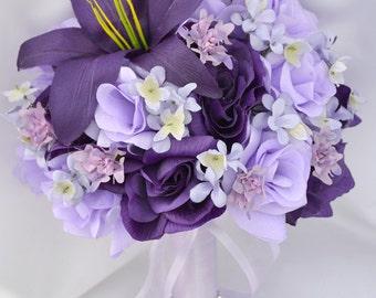 "17 Piece Package Bridal Bouquet Wedding Bouquets Silk Flowers Bride Maid Bridesmaid Corsages PURPLE LAVENDER ""Lily of Angeles"" PULV05"